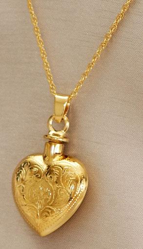 Gold 14k Etched Heart Urn Pendant Urns For Cremation